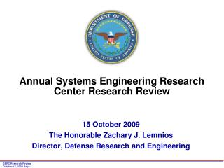Annual Systems Engineering Research Center Research Review