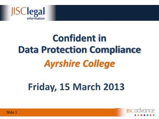 Confident in Data Protection Compliance Ayrshire College