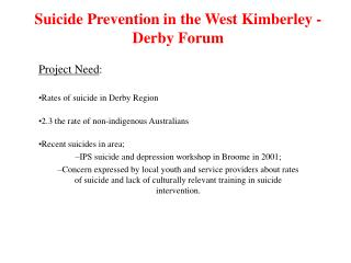 Suicide Prevention in the West Kimberley - Derby Forum