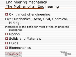 Engineering Mechanics The Mother of all Engineering