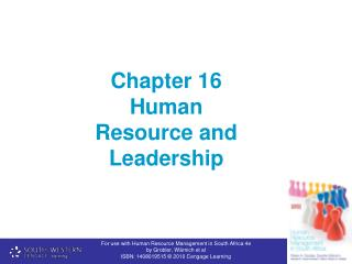 Chapter 16 Human Resource and Leadership