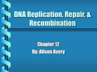 DNA Replication, Repair, & Recombination