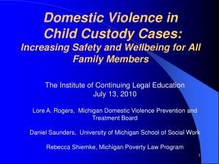 Domestic Violence in  Child Custody Cases:  Increasing Safety and Wellbeing for All Family Members