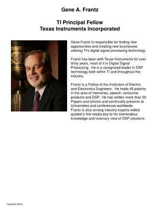 Gene A. Frantz TI Principal Fellow Texas Instruments Incorporated