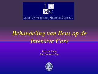Behandeling van Ileus op de Intensive Care Evert de Jonge Afd. Intensive Care