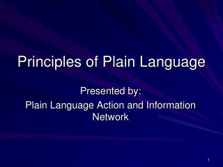 Principles of Plain Language