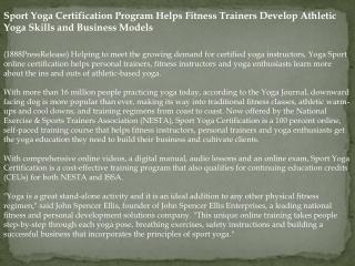 Sport Yoga Certification Program Helps Fitness Trainers