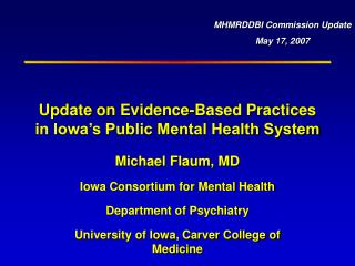 Update on Evidence-Based Practices in Iowa's Public Mental Health System