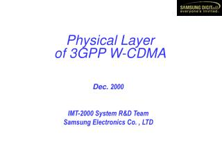 Physical Layer of 3GPP W-CDMA