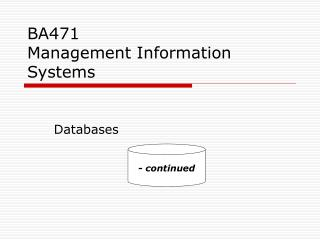 BA471 Management Information Systems