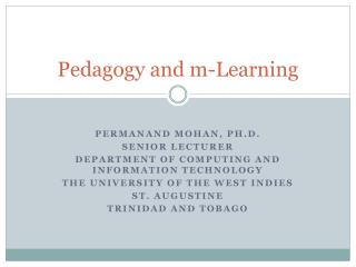 Pedagogy and m-Learning