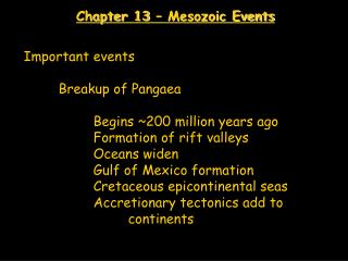 Chapter 13 – Mesozoic Events