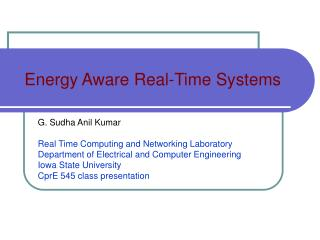 Energy Aware Real-Time Systems