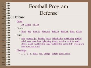 Football Program Defense