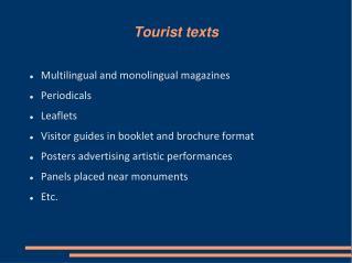 Tourist texts