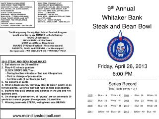 9 th  Annual  Whitaker Bank  Steak and Bean Bowl