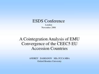 ESDS Conference London November 2006