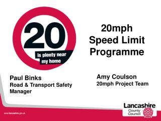 Amy Coulson  20mph Project Team