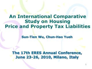 An International Comparative Study on Housing Price and Property Tax Liabilities