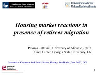 Housing market reactions in presence of retirees migration