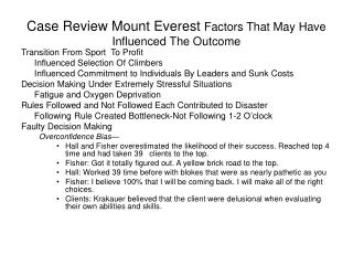 Case Review Mount Everest  Factors That May Have Influenced The Outcome