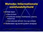 Metode: Internationale samfundsforhold