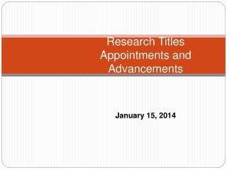 Research Titles Appointments and Advancements