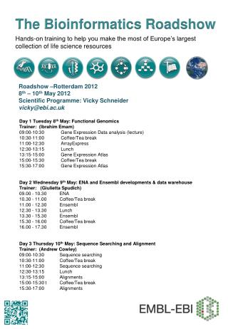 Day 1 Tuesday 8 th  May: Functional Genomics Trainer:  (Ibrahim Emam) 09:00-10:30      	 Gene Expression Data analysis (