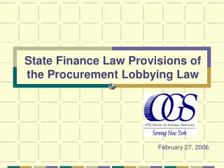 State Finance Law Provisions of the Procurement Lobbying Law