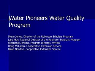 Water Pioneers Water Quality Program