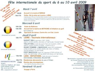 fête internationale du sport du 6 au 10 avril 2009