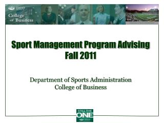 Sport Management Program Advising Fall 2011