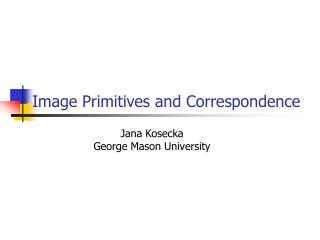 Image Primitives and Correspondence