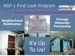 NSP-1 First Look Program