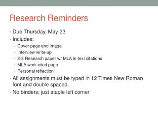 Research Reminders