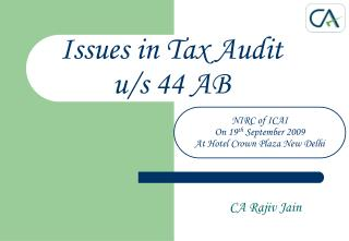 Issues in Tax Audit  u/s 44 AB