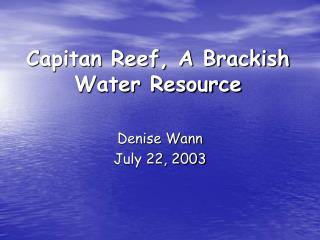 Capitan Reef, A Brackish Water Resource