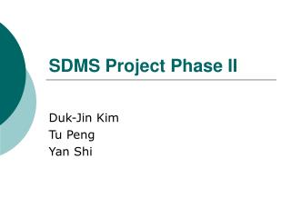 SDMS Project Phase II