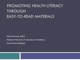 Promoting Health Literacy through Easy-to-Read Materials
