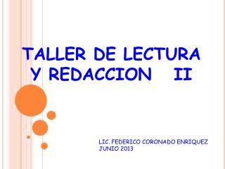 TALLER DE LECTURA Y REDACCION   II