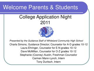 Welcome Parents & Students