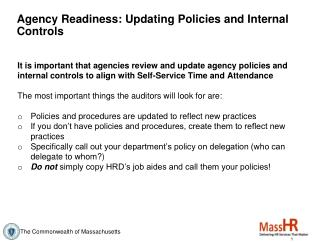 Agency Readiness: Updating Policies and Internal Controls