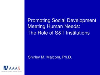 Promoting Social Development Meeting Human Needs: