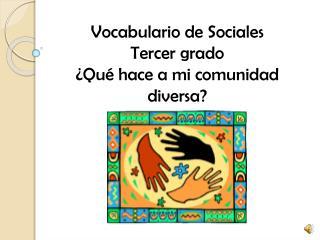 Vocabulario de Sociales Tercer grado ¿ Qué hace a mi comunidad diversa ?