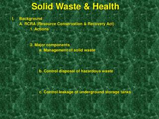 Solid Waste & Health