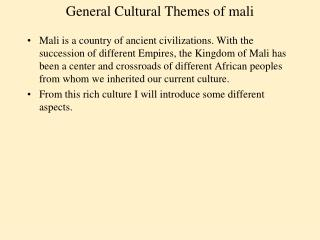 General Cultural Themes of mali