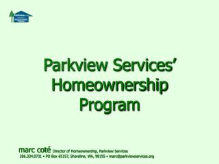 Parkview Services' Homeownership Program
