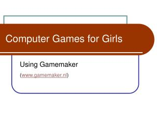 Computer Games for Girls