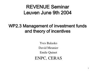 REVENUE Seminar  Leuven June 9th 2004 WP2.3 Management of investment funds  and theory of incentives
