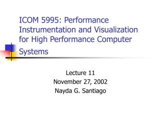 ICOM 5995: Performance Instrumentation and Visualization for High Performance Computer Systems